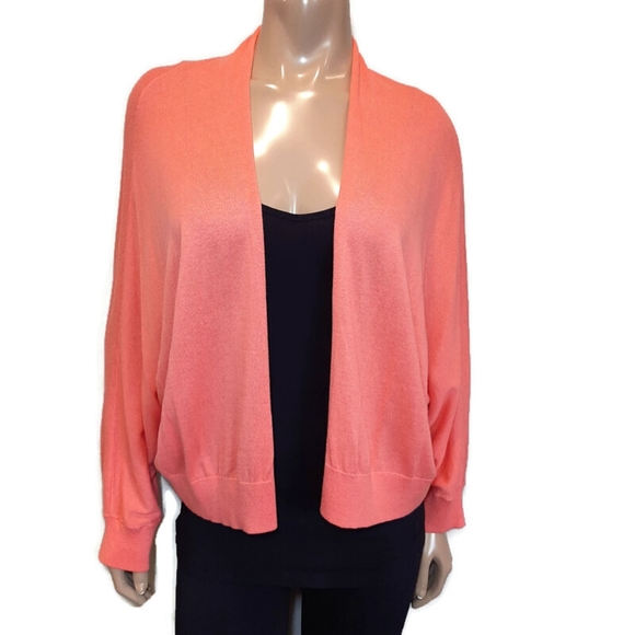 🍁 OLD NAVY Slouchy Coral Cardigan Sweater Shawl Collar Open Front Dolman Sleeve